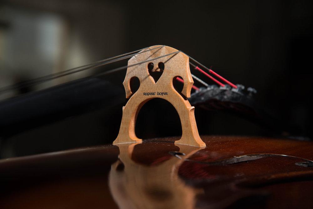 Cello-Steg Nahaufnahme
